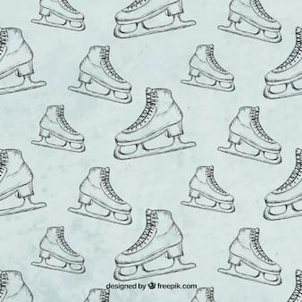 Patrón de patines dibujados a mano