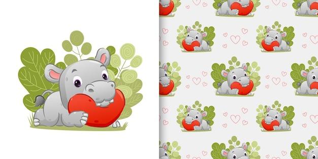 Patrón patrón conjunto del hipopótamo acostarse en la almohada del corazón