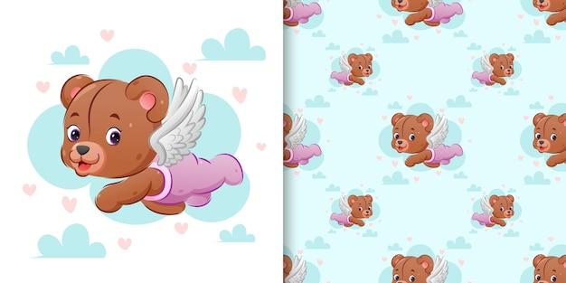 Patrón patrón del lindo oso de peluche cupido está volando con sus alas en el cielo