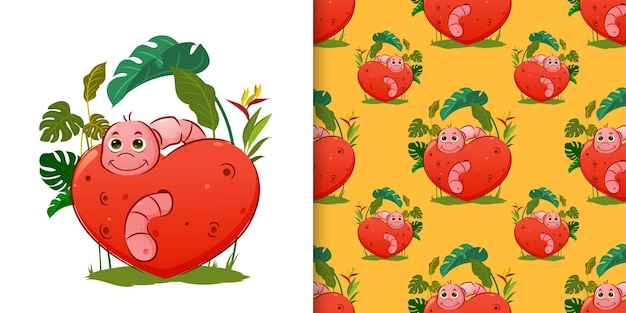 Patrón patrón del pequeño gusano viene de la manzana