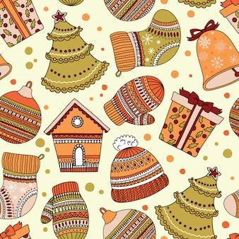 Patrón de patrón con tema de navidad. se puede usar para papel tapiz o papel de regalo