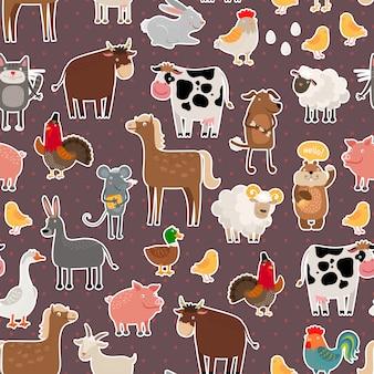 Patrón de pegatinas de animales y mascotas de granja. vaca y oveja, cerdo y caballo