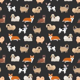 Patrón de perros decorativos lindos