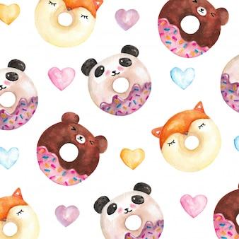 Patrón de personajes de donut graciosos acuarela