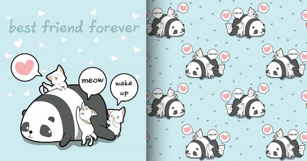 Patrón de personajes kawaii panda y gato sin costura