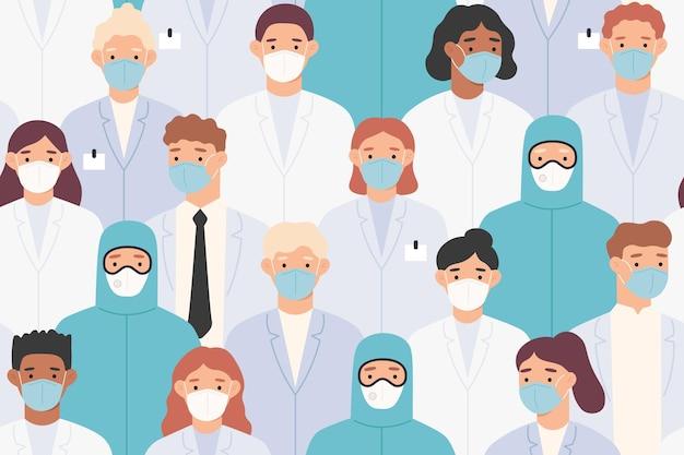 Patrón de personal hospitalario. médicos y enfermeras con máscaras médicas protectoras.