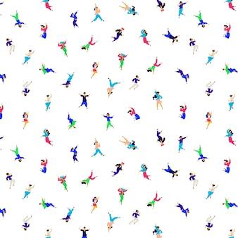 Un patrón de personas bailando en diferentes poses y emociones.