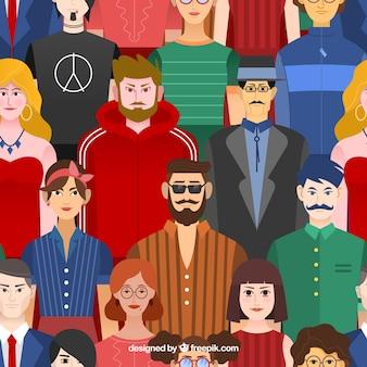 Patrón con personas en diseño plano