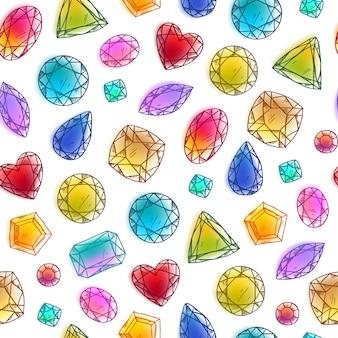 Patrón de piedras preciosas dibujado a mano colorido transparente en blanco.