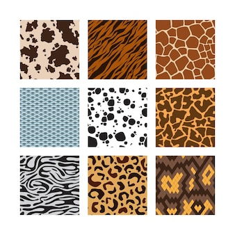 Patrón de piel de animales. colección de fondos sin fisuras del zoológico de pieles de serpiente cebra tigre jirafa conjunto de vectores. safari zoo fauna, áfrica selva decoración piel ilustración