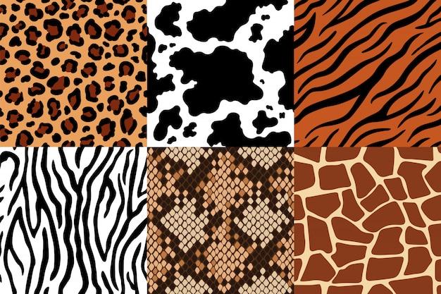 Patrón de pieles de animales. piel de leopardo, tela de cebra y piel de tigre. conjunto de patrones sin fisuras safari jirafa, estampado de vaca y serpiente