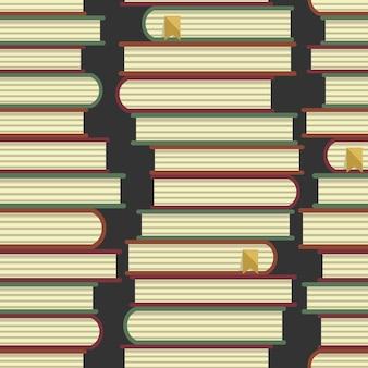 Patrón de pilas de libros fondo de educación