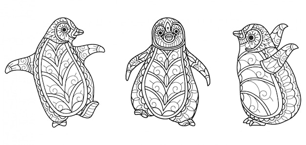 Patrón de pingüinos dibujado a mano ilustración boceto para colorear para adultos