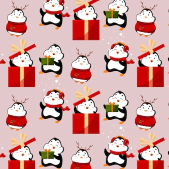 Patrón con pingüinos divertidos y lindos los pingüinos tienen regalos y sombreros divertidos