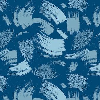 Patrón de pintura azul de trazo de pincel abstracto