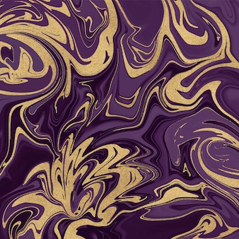Patrón de pintura de tinta purpurina púrpura y dorada.