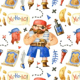 Patron pirata dibujado a mano con lindo pirata y elementos