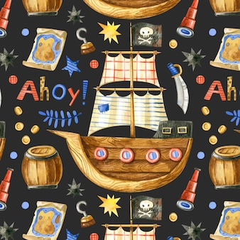 Patrón pirata transparente con barco y elementos en estilo de dibujos animados