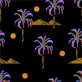 Patrón de píxeles de palmeras e islas