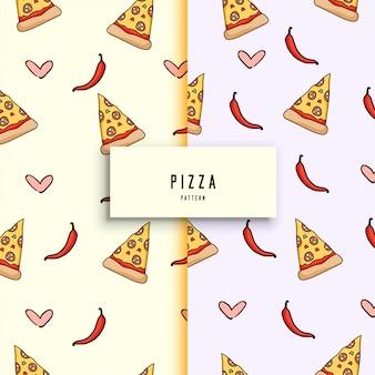 Patrón de pizza dibujado a mano.