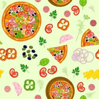 Patrón de pizza e ingredientes.