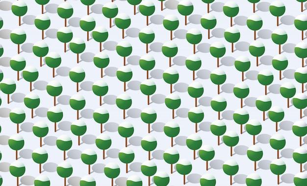 Patrón de plan de bosque sin costura de invierno
