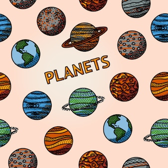 Patrón de planeta dibujado a mano
