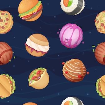 Patrón de planetas de comida, fantástico mundo espacial con dulces hamburguesa de comida rápida pizza sushi estrellas brillantes cielo fondo transparente