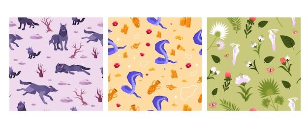 Patrón plano animal de tres cuadrados con una manada de lobos corriendo, serpiente custodiando el tesoro y diferentes flores
