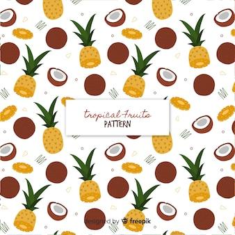 Patrón plano frutas tropicales