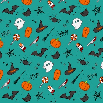 Patrón plano de halloween turquesa