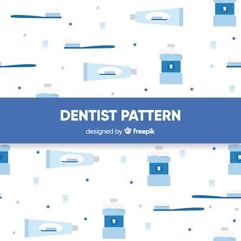 Patrón plano herramientas cuidado dental