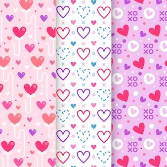 Patrón plano de san valentín