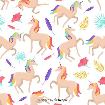 Patrón plano unicornios