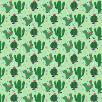 Patrón de planta de cactus verde