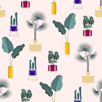 Patrón de plantas de interior en macetas