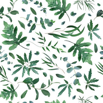 Patrón de plantas realistas. hojas de eucalipto sin costura, patrón de planta de helecho, follaje verde textura de fondo. telón de fondo ecológico, ilustración de plantas naturales tropicales