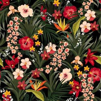 Patrón de plantas de la selva