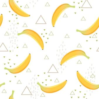 Patrón de plátano postre saludable fruta comiendo comida vector fondo transparente