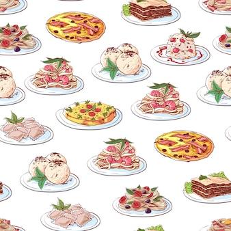 Patrón de platos de cocina italiana sobre fondo blanco.