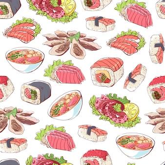 Patrón de platos de cocina japonesa sobre fondo blanco.