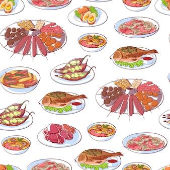 Patrón de platos de cocina tailandesa sobre fondo blanco.