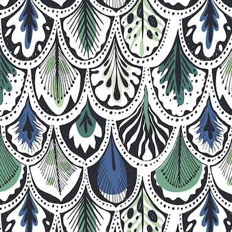 Patrón de plumas azul y verde
