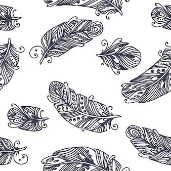 Patrón de plumas sin costura vintage