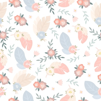 Patrón con plumas y flores