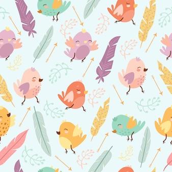 Patrón con plumas y pájaros
