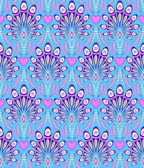 Patrón con plumas de pavo real abstractas