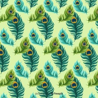 Patrón de plumas de pavo real