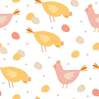 Patrón de pollo y huevos
