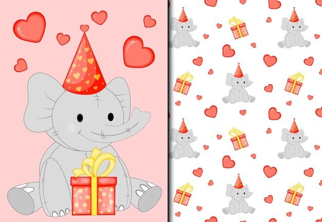 Patrón y postal con un lindo elefante. estilo de dibujos animados.